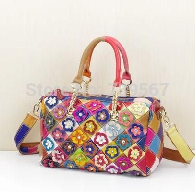 Красочные цвета кожи шить голова слой коровьей цветы в его мешок сумки 2014 новые характеристики