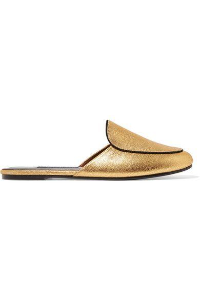 NewbarK - Liza Metallic Brushed-leather Slippers - Gold - US