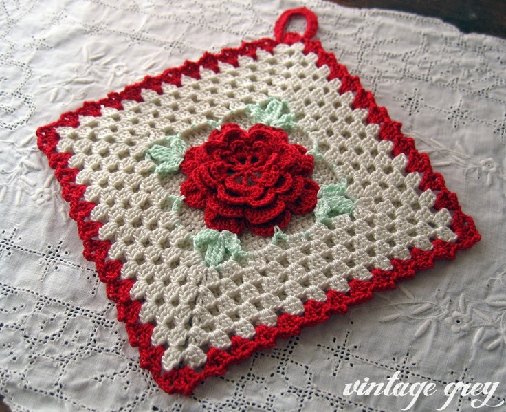 A pretty crocheted potholder - she made this from a vintage pattern book!!!