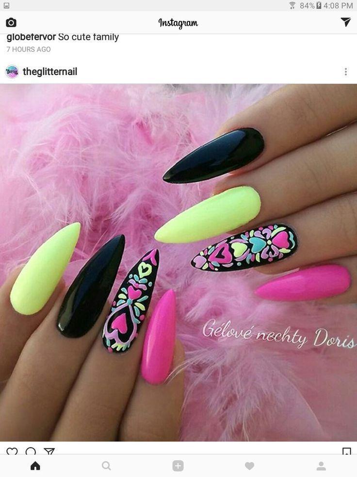 Stiletto Nails In 2020 Pink Nails Nail Designs Nail Art Designs