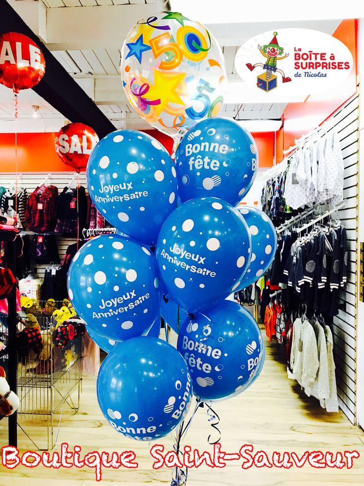 Beau Bouquets de Ballons à l'hélium pour une super Fête d'anniversaire, Livraison par La Boîte à Surprises de Nicolas, boutique St-Sauveur!