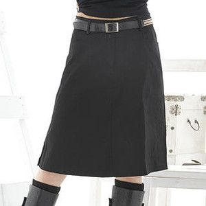 a line skirt just covering my knobby knees, love it.  I have nice legs but hate my knees , and my problem area is belly, upper thighs, so a line works well