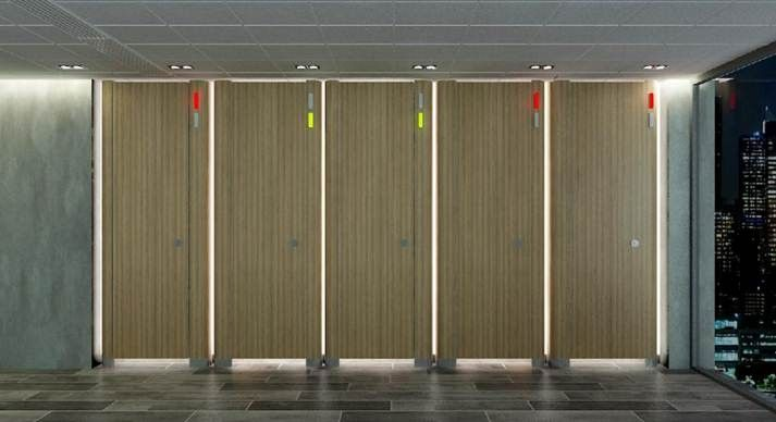 Washroom Partitions With Led Occupancy Indication Toilet Cubicle Large Toilets Led Lighting Solutions