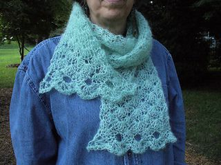 The natural loft of mohair makes this easy scarf both elegant and warm. It's light as a cloud to wear, and drapes softly. The scarf works up so quickly with a large hook and no blocking.