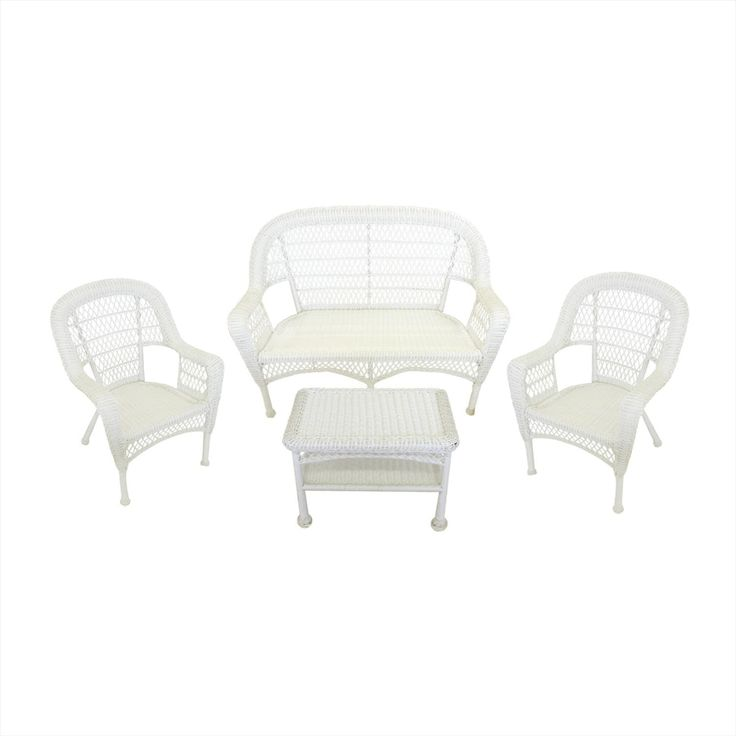4-Piece White Resin Wicker Patio Furniture Set - Loveseat, 2 Chairs & Table