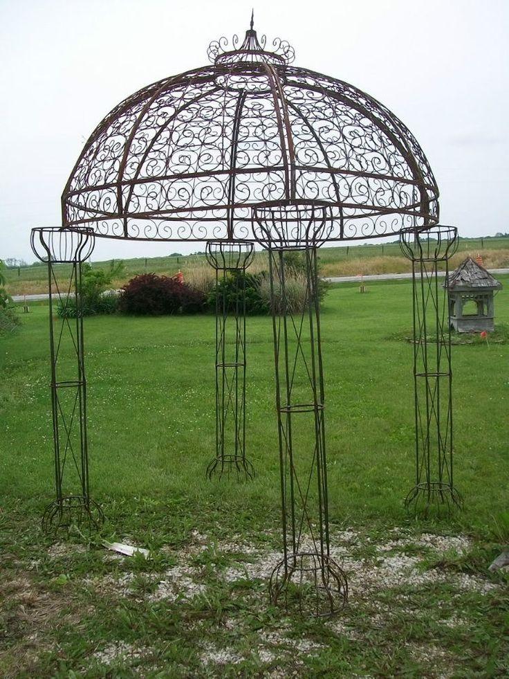 Wrought Iron Round Flower Arbor, Garden Gazebo Trellis   Pergola Arch