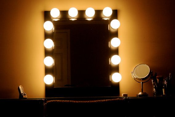 Vanity Lights Hollywood : Hollywood Lights Makeup-Vanity Mirror on Etsy, USD 199.00 Bedroom Makeup Station Project ...