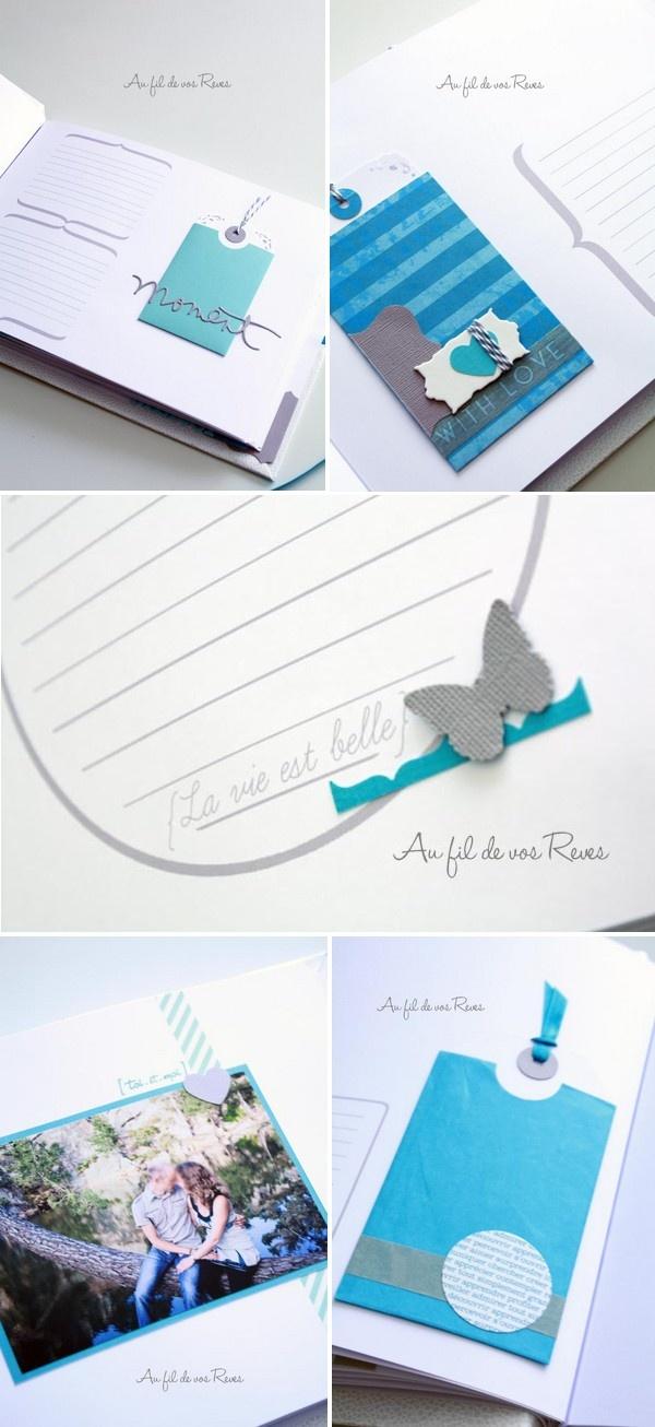 Livre d'or ~ Bleu atoll, gris & blanc   Au fil de vos Reves