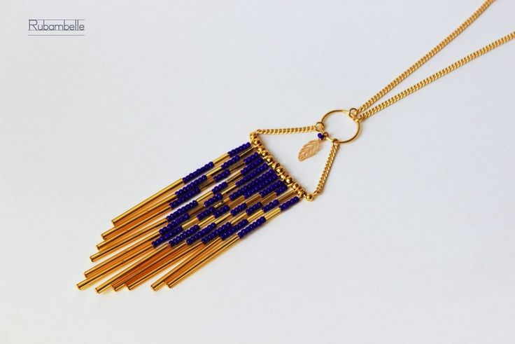 Sautoirs, Sautoir Navajo Blue & Gold est une création orginale de Rubambelle sur DaWanda