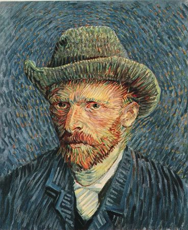 Selfportrait. Vincent Van Gogh. painting. Recommended by Andrea Beaty, author of Artist Ted.