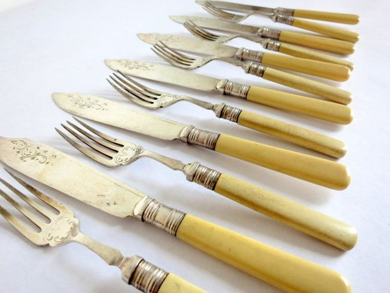 Deco Fish Knife and Fork Set by EastonandBelt on Etsy, $72.00. The same yellow as in our color chart