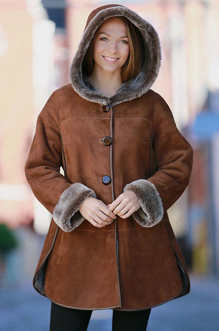 Women's Amity Merino Shearling Sheepskin Hooded Coat with Leather Trim by Overland Sheepskin Co. (style 13919)