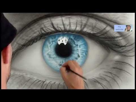 How To Draw a realistic Eye painting in dry brush (Speed Drawing) malen zeichnen - YouTube