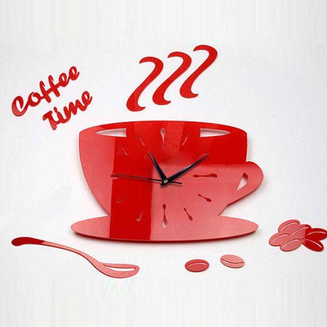 Creative 3D Coffee Cup Pointer Clock Acrylic Ultra-quiet Wall Clock Mirror Wall Clock Bedroom Living Room