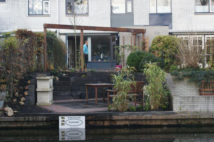 De tuin is af. Beeld vanaf het water.