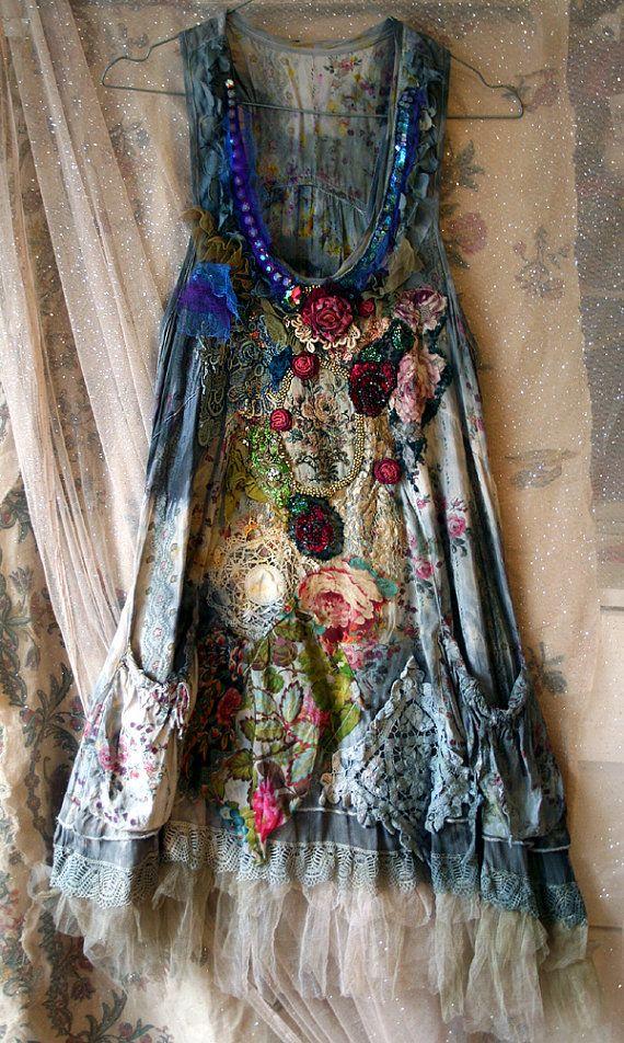 Fairy woods shabby romantic tunic warable art by FleursBoheme