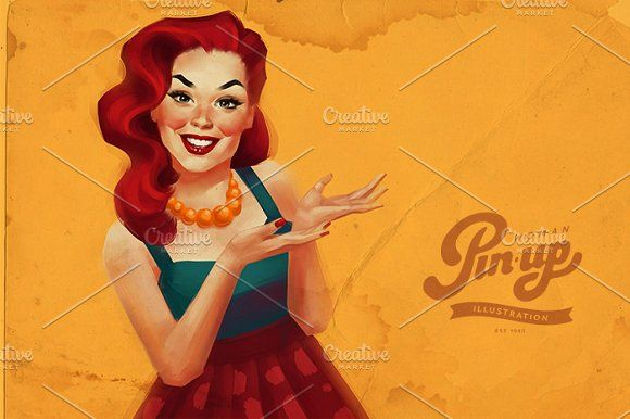 Pin-up woman by Irene on @creativemarket