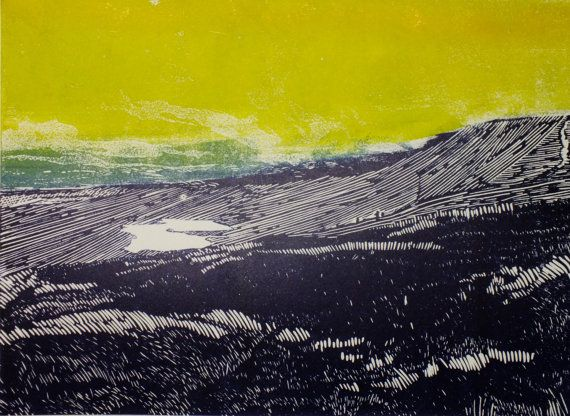 Whernside Yorkshire three peaks linocut art by LauraLongPrintmaker