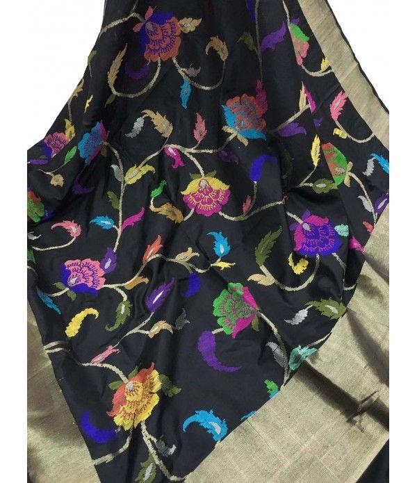 Black Handloom Banarasi Katan Kadwa Silk Dupatta