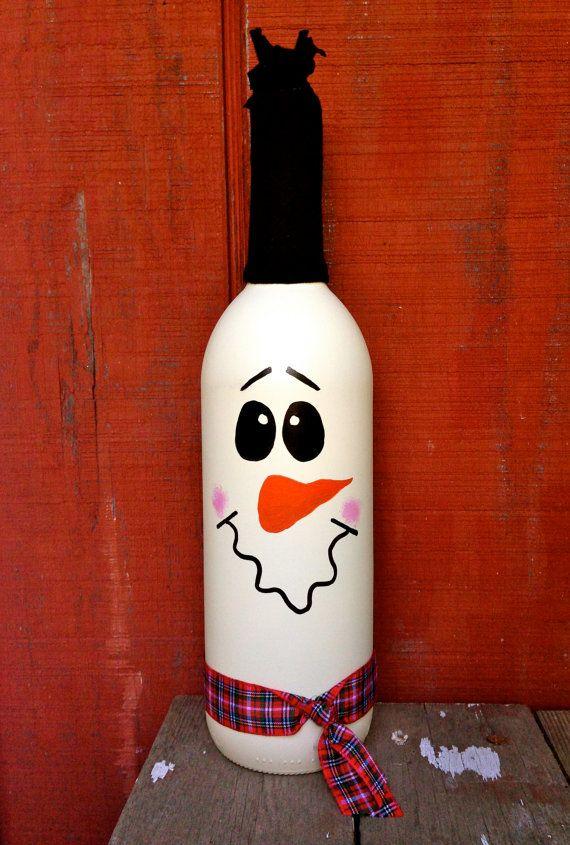 snowman wine bottle