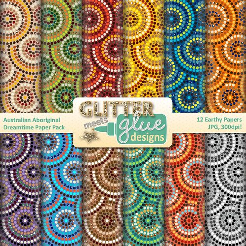 Are you on the hunt for some multicultural, Aboriginal-inspired papers to use in your art lessons or TPT seller products? Take a look at these scrapbook papers!  Australian Aboriginal Dreamtime Scrapbook Paper Clipart #clipart #aboriginal #australia #artsed #edu