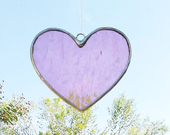 Free Shipping Pink Heart Stained Glass Sun by JBsGlassHouse