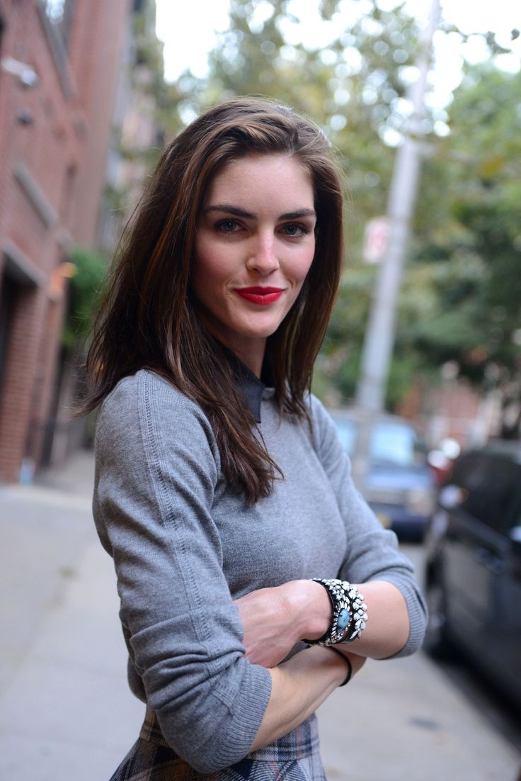 photo of super model Hilary Rhoda on the streets of New York.
