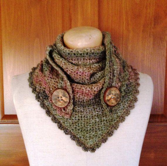 Hand crocheted Triangle scarf neckwarmer shawl by FancieFibers, $40.00