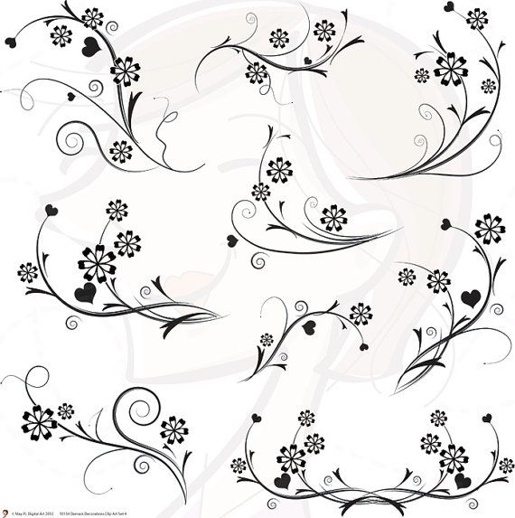 Digital Flourish Swirls Damask Decorations Flowers Clip Art Clipart Black and White Damask Decorative Wedding Scrapbooking Supplies 10134