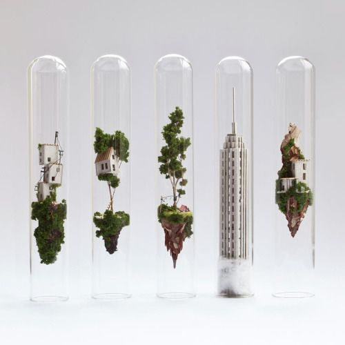 """enochliew: """"Micro Matter by Rosa de Jong Tiny landscapes skillfully placed into the confines of test tubes. """""""