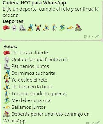 Cadenas De Retos Hot Para Whatsapp Juegos Para Whatsapp Apuntes