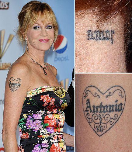 Melanie Griffith. Tattoos gone wrong. Smh