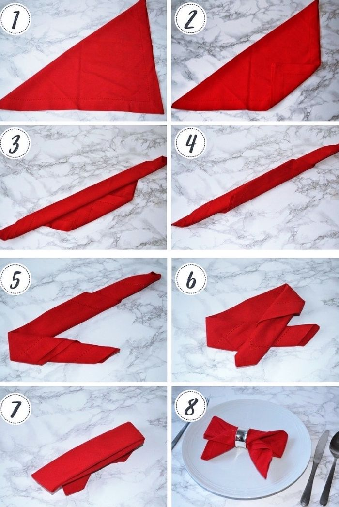 Agreable étapes à Suivre Pour Réaliser Une Jolie Déco De Table Avec Pliage Serviette  Papier Ou En Tissu, Modèle Serviette En Forme Papillon Rouge
