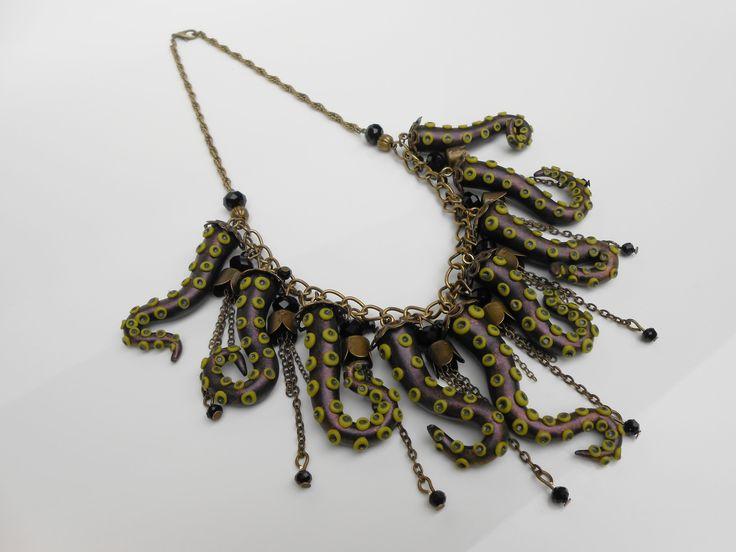 """Collier """"pêche miraculeuse"""" Kaki en métal couleur bronze : Collier par jennifleur"""