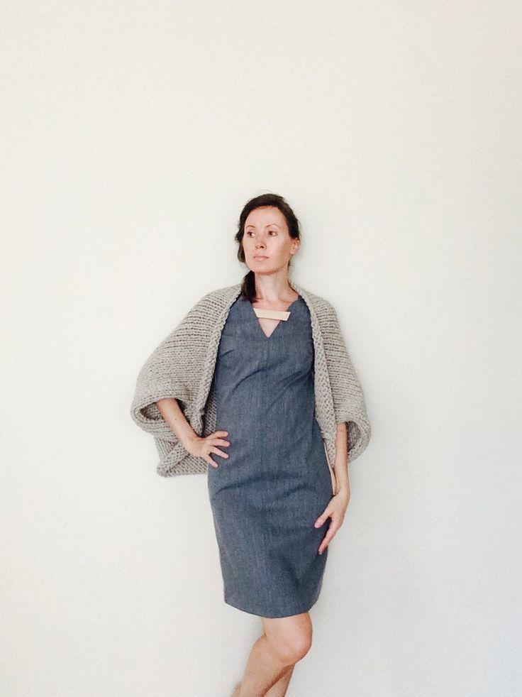 Knit Sweater Cardigan / Beige Shrug / Oversized Chunky Knit Beige Oatmeal Sweater Shrug / Chunky Knit Beige Oatmeal Cardigan / Ready To Ship by GaDeCreations on Etsy