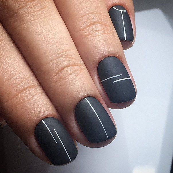 Minimalist Matte Black And White Lines Manicure