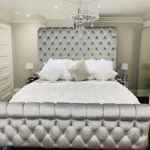 Tufted Velvet Platform Bed King Extra Large Wide Bed Diamond