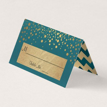 #Dark Teal and Gold Chevron and Confetti Dots 2 Place Card - #bride gifts #bridal ideas unique personalize