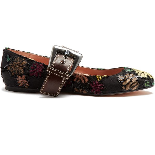 Rochas Floral-brocade ballet flats ($296) ❤ liked on Polyvore featuring shoes, flats, black multi, ballet pumps, floral print ballet flats, black ballet shoes, floral ballet flats and black ballet pumps