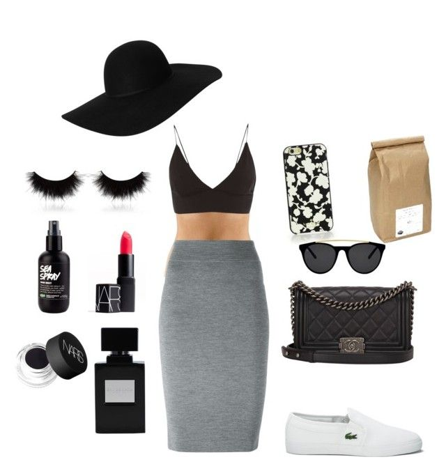 """""""That black one◾️"""" by oliviiiias on Polyvore featuring Alexander McQueen, Topshop, shu uemura, Lacoste, NARS Cosmetics, Davidson's, Kate Spade, Chanel, Smoke & Mirrors and Monki"""