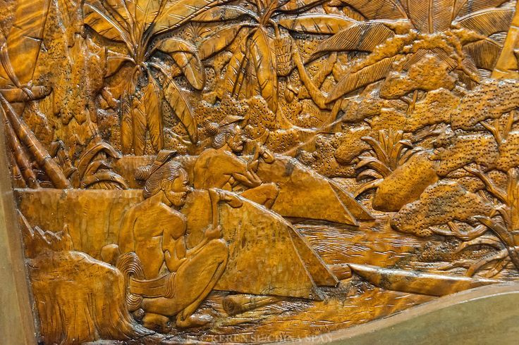 Yap Island, Federated States of Micronesia. Wood carving depecting local life