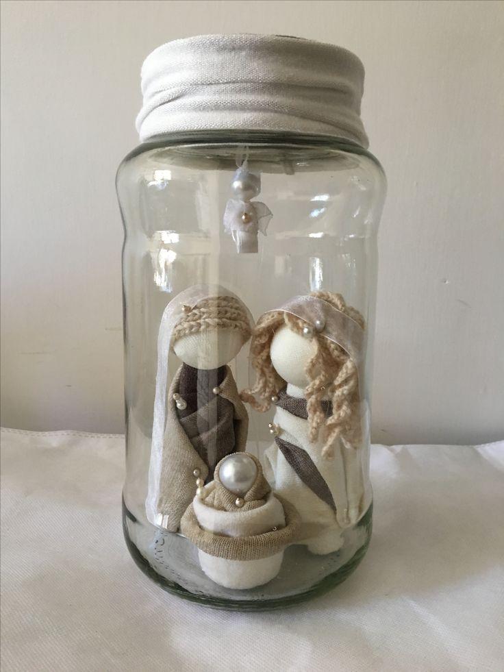 Presepe Barattolo polistirolo,lana, perline