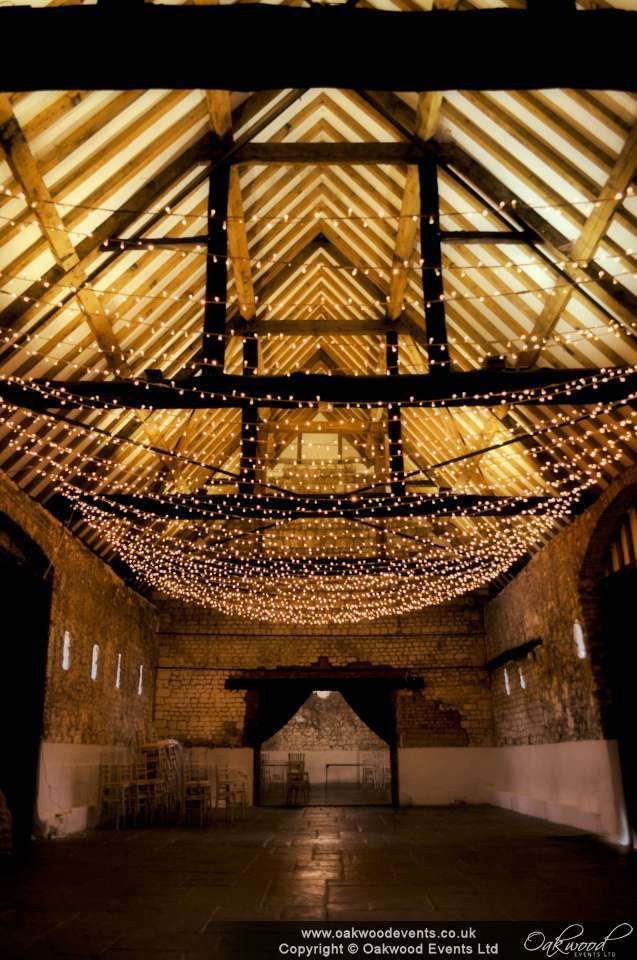 Stunning widthways canopy in the Monks Barn Hurley. Wedding lighting with style.
