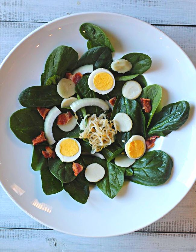 Crunchy Spinach Salad With Bacon Recipe Bacon Spinach Salad Spinach Salad Calories In Bacon