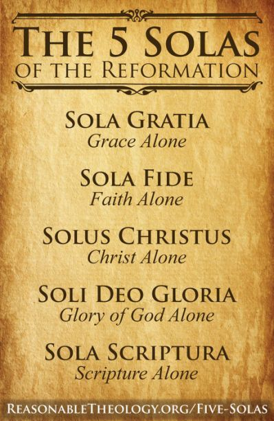 """It was 500 years ago (October31) that Martin Luther hung his Ninety-five Theses on the door of the Whittenburg church. We all need the saving righteousness of Jesus credited to us by faith.   The """"five solas"""" is a term used to designate five great foundational rallying cries of the Protestant reformers. They are as follows: """"Sola Scriptura"""" (Scripture Alone); """"Sola Gratia"""" (Grace Alone); """"Sola Fide"""" (Faith Alone); """"Solus Christus"""" (Christ Alone); and """"Soli Deo Gloria"""" (To God Alone Be…"""