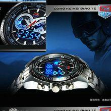 2015 de acero inoxidable negro hombres de militares azul del binario LED del indicador del reloj para hombre de 3AM impermeable relojes deportivos(China (Mainland))