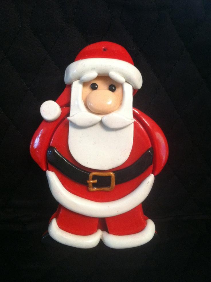 Handmade Polymer Clay Christmas Santa Claus Ornament.