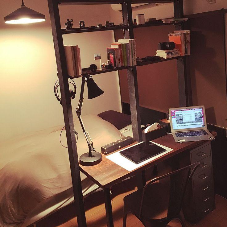 ディアウォールで本棚/ディアウォール 棚/ディアウォールで間仕切り/IKEA…などのインテリア実例 - 2016-12-08 01:22:46 | RoomClip(ルームクリップ)