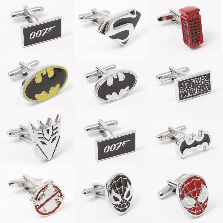 Novelty Superhero Cufflinks Spiderman Batman Superman 007 Cuff Link Mens Gift