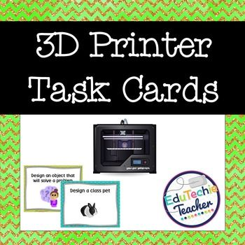 3D Printer Task Cards-These 3D printer design task cards are a great way to provide 3D print designs and creation inspiration to your students! Use these 3D printer task cards with your Makerspace or as a STEM/ STEAM learning activity to provide a new challenge for your students.